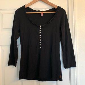 Lucy Black Henley Ruffle Neckline 3/4 Sleeve Top